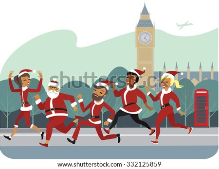 People characters participants of Santa fun race marathon  - stock vector