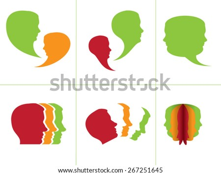 People chat face - stock vector
