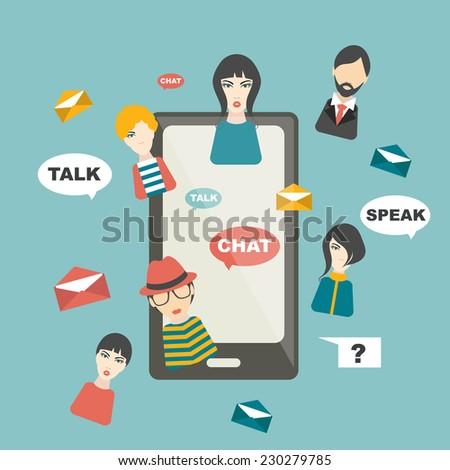 People chat global communication. Social media illustration. Flat mobile concept. Vector.  - stock vector