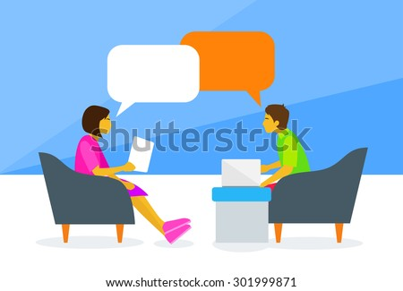 People Chat Sitting Man and Woman Talking Discussing Chat Communication Flat Vector Illustration - stock vector