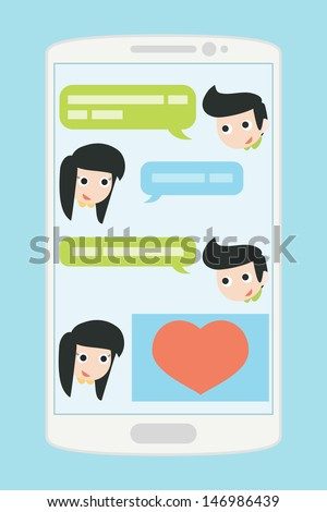 people chatting on mobile phone, vector - stock vector