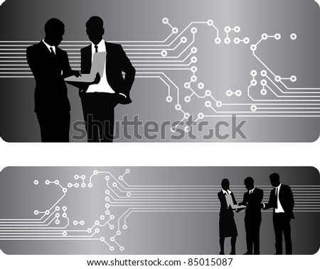 people circuit board banner background - stock vector