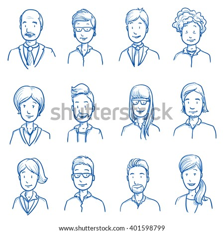 People collection BUSINESS. Set of various happy men and women in business clothes, mixed age expressing positive emotions. Hand drawn line art cartoon vector illustration. - stock vector
