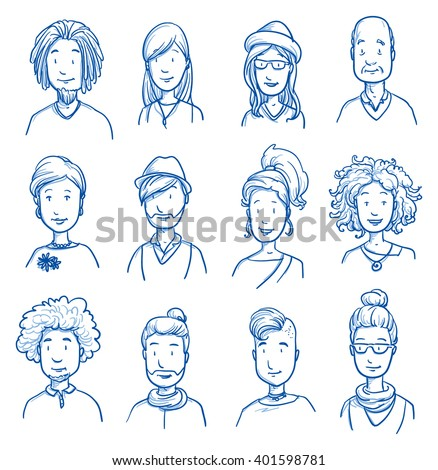 People collection CASUAL. Set of various happy men and women in casual clothes, mixed age expressing positive emotions. Hand drawn line art cartoon vector illustration. - stock vector