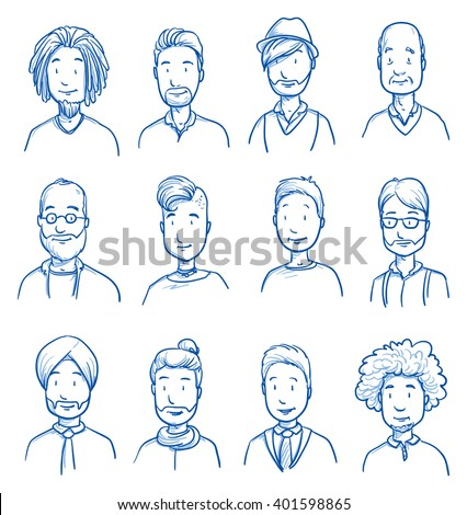 People collection MEN. Set of various happy men in business and casual clothes, mixed age expressing positive emotions. Hand drawn line art cartoon vector illustration. - stock vector