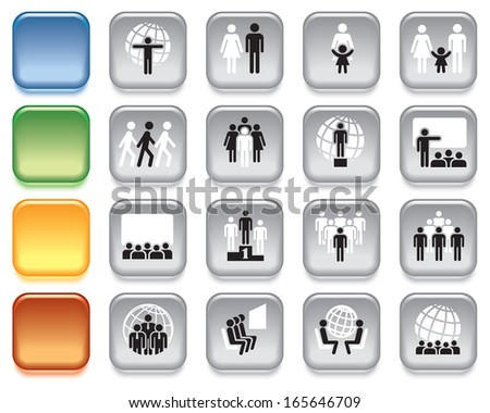 People, collection of colorful icons over white background - stock vector