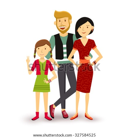 People collection: one child happy family group generation with dad, mom and young daughter in flat style illustration. EPS10 vector. - stock vector