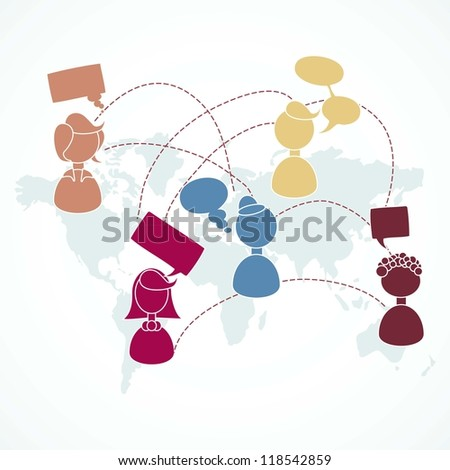 People communicating through the world - stock vector
