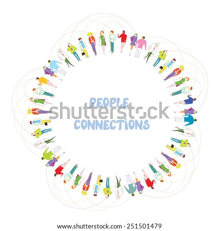 People communication background - frame of many characters - stock vector