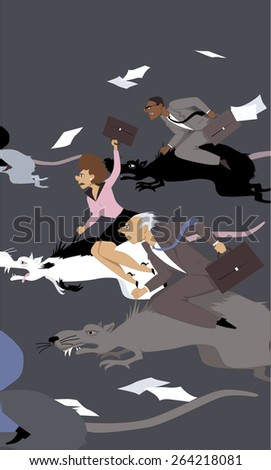 People compete in a rat race, riding giant rats, vector illustration, no transparencies, EPS 8  - stock vector