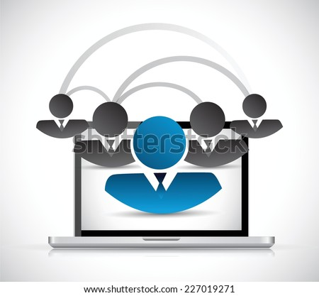 people computer network connection illustration design over a white background - stock vector