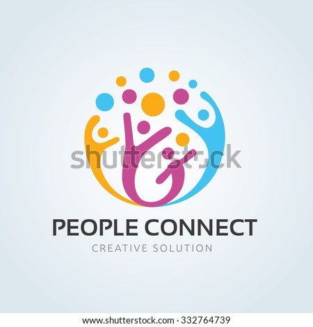 People connect logo,communication logo,family logo,vector logo template