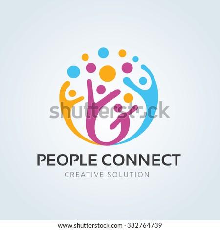 People connect logo,communication logo,family logo,vector logo template - stock vector