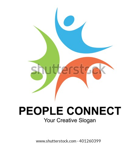 People connect logo. Vector illustration