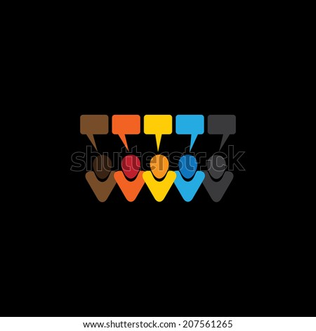 people conversation icons or online comments & chats - concept vector. This graphic also represents social media communication, internet or web chat, social networking & interaction, online community - stock vector