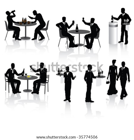 People, couples and a waiters in restaurant, vector illustration. - stock vector