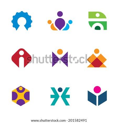 People creative tools of innovation icon set maze logo construction - stock vector