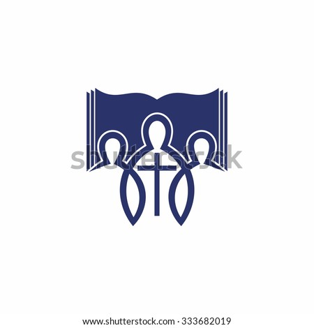 People, cross, Bible, membership, church, missions, icon, group - stock vector