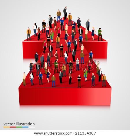 People crowd on an arrow. Businessman of success - stock vector