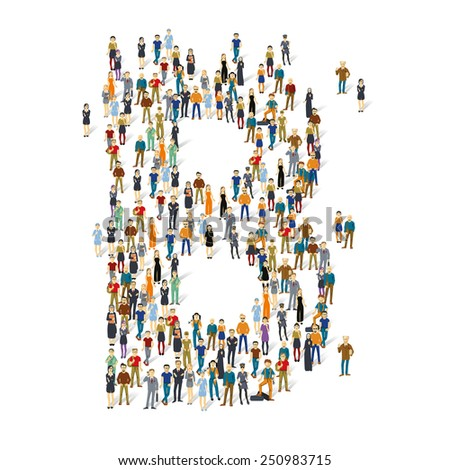 People crowd. Vector ABC, letter B - stock vector
