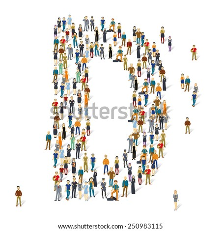 People crowd. Vector ABC, letter D - stock vector