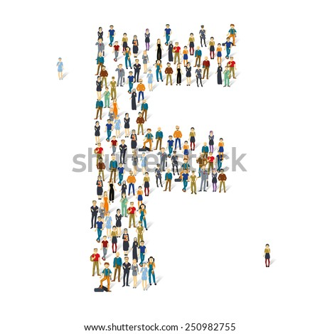 People crowd. Vector ABC, letter F - stock vector