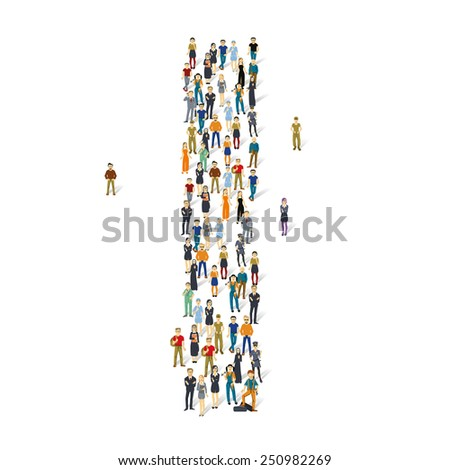 People crowd. Vector ABC, letter I - stock vector
