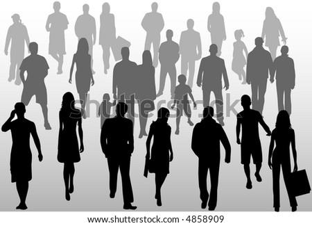 People crowd, vectors work - stock vector