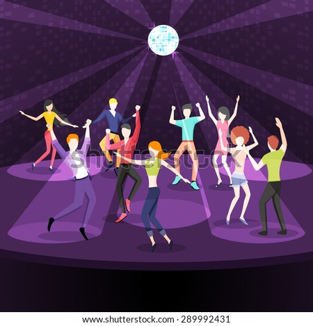 People dancing in nightclub. Dance floor in flat style design. Party disco, music and nightlife, youth and event. Vector illustration - stock vector