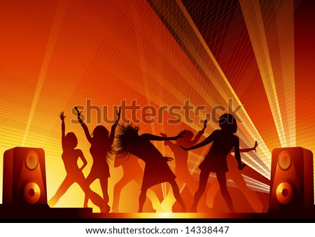 People dancing in the disco lights, vector illustration, EPS file included - stock vector