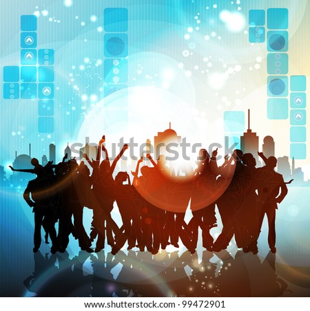 People dancing on the street - stock vector