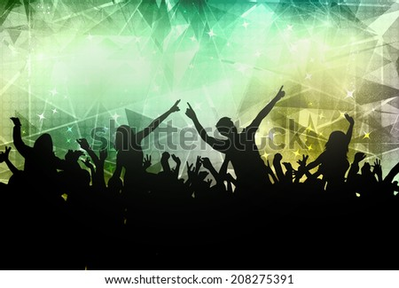 People dancing silhouettes - stock vector