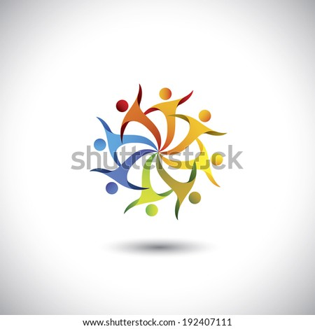 People dancing together, having fun - colorful concept vector. This graphic illustration also represents togetherness, community, unity, diversity, brotherhood, cooperation, alliance, union - stock vector