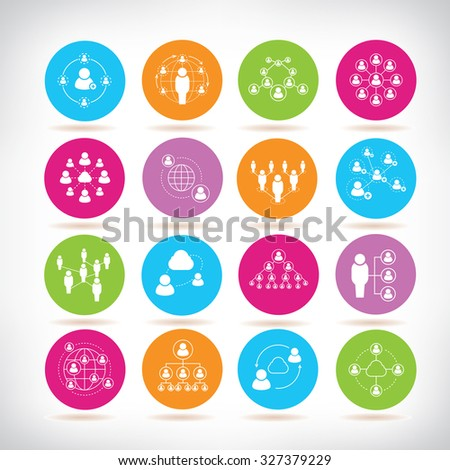 people diagram icons, people network icons - stock vector