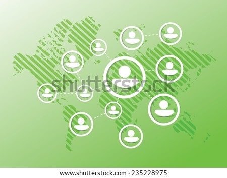 people diagram network illustration design over a green background - stock vector