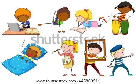 People doing different activities illustration