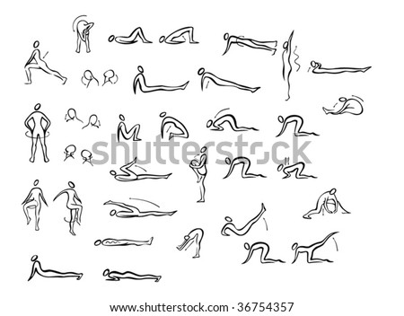 people doing exercise - stock vector