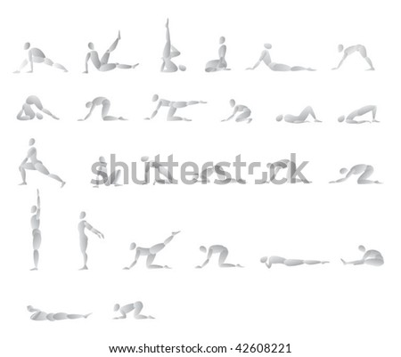 People doing exercises - stock vector