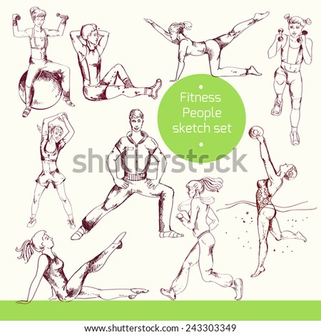 People doing fitness sport training workout exercises sketch set isolated vector illustration - stock vector
