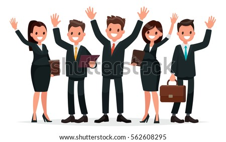 People dressed in a business suit with his hands up. Business team on a white background. Vector illustration in a flat style