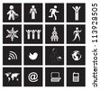 People, earth and communications icons over squares background - stock vector