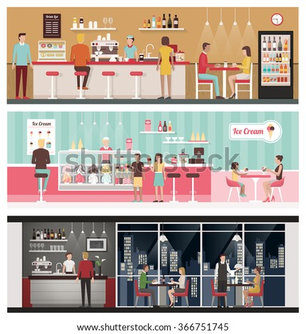 People eating and drinking in a bar, in an ice-cream shop and in a luxury restaurant, healthy eating and lifestyle concept - stock vector