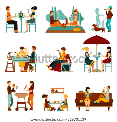People eating out and an homes flat icons set isolated vector illustration - stock vector