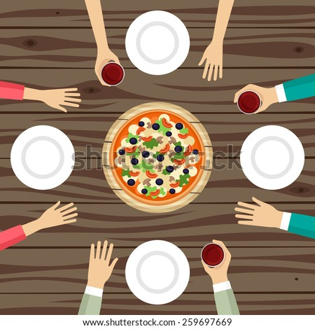 People eating pizza top view vector illustration - stock vector