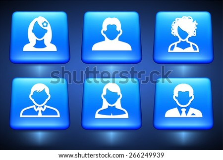Blue Square Face Logo People Face Set on Blue Square
