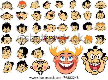 People faces. Cartoon expressions and emotions, avatar icons - stock vector