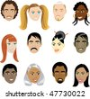 People Faces 1. Vector Illustration set of 12 peoples on a diverse set of cultures. Also available in other sets. - stock vector