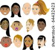 People Faces 4. Vector Illustration set of 12 peoples on a diverse set of cultures. Also available in other sets. - stock vector