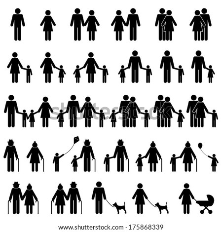People Family Icons Set - stock vector