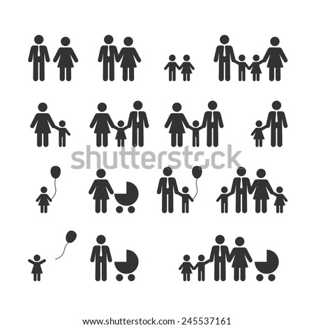 People Family Pictogram. Web icon set - stock vector